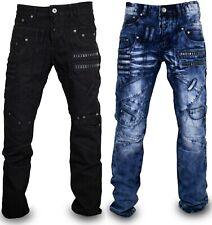 Herren Jeans Hose ausgefallene Modelle Jeanshose Verwaschen in Blau oder Schwarz