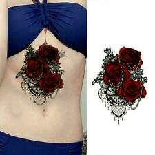 Women 3D Large Rose Flower Temporary Tattoo Body Art Tattoo Stickers J1P1
