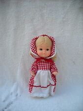 "BLOND HAIR DOLL 9"" RED & WHITE CHECKER OUTFIT"