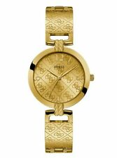 Guess Womens U1228L2 Gold Tone Signature Logo Adjustable Bracelet Watch NWT