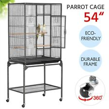 Parrot Cockatiel Conure Parakeet Lovebird Budgie Bird Cage w/ Rolling Stand Used