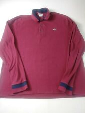 Lacoste Mens Slim Fit Shirt Size 7 Red Burgundy Long Sleeve Polo 100% Cotton