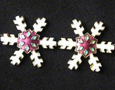2 White Mulberry Cloisonne Snowflake Focal Beads 8638f