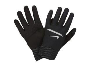 Nike Aero Shield Running Gloves Touch Screen Weatherproof Reflective Black SMALL