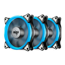 Pack of 3 Aigo 120mm 12cm Halo Ring Neon ICE BLUE LED Computer PC Case Cool Fan