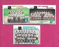1975-76 TOPPS NORTH STARS + RANGERS + BLUES UNMARKED TEAM CHECKLIST (INV# C3977)