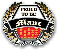 Orgogliosi di essere manc GOLDEN CREST EMBLEM & FLAG di Manchester VINILE Auto Adesivo Casco