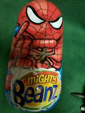 VINTAGE METAL SPIDERMAN MIGHTY BEANZ CONTAINER WITH 7 BEANZ  2010