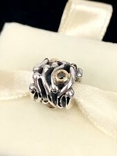 Pandora Silver Gold ABSTRACT BLACK Diamonds Charm 790569DB Bead AUTHENTIC + Box