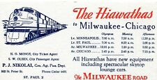 Milwaukee Road Advertising Ink Blotter Hiawathas to Milwaukee - Chicago CmstP&P