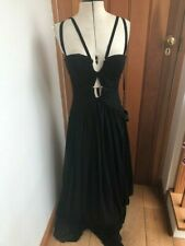 forever unique black maxi dress pleats and bronze hardware uk 10 bnwt