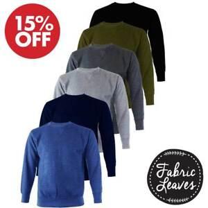 Mens Plain Crew Neck Winter Warm Fleece Sweatshirt Pullover Jumper Work Sweater