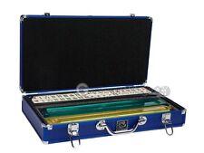 White Swan Mahjong Set - Ivory Tiles (Modern Pushers) - Blue Aluminum Case
