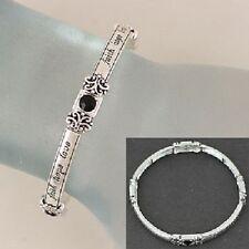 Faith Hope Love Black Crystal Accents Religious Fashion Jewelry Bracelet #400-B
