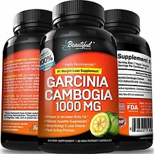 GARCINIA CAMBOGIA (1 Bottle) 100% Pure Extract. Get More Energy and Eat Less
