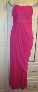New W $159.00 Tags David's Bridal Long Pink Strapless Mesh Gown Size 6