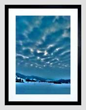 PHOTO LANDSCAPE WINTER SCENE SNOW COLD CLOUDS FOREST HILLS FRAMED PRINT B12X8590