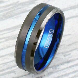 8mm Gunmetal Grey (Not Black) Tungsten Thin Blue Line Men's Wedding Band Ring