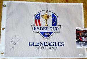 Rickie FOWLER Signed 2014 Ryder Cup Pin Flag - JSA COA - Embroidered