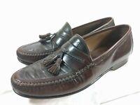 Johnston & Murphy Men`s Sz 9 M Italy Brown Reptile Leather Tassel Loafer Moc Toe