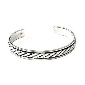 Men's Iconic and Solid 925 Sterling Silver Bangle Bracelet