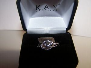 NEW KAY JEWELERS 1 CARAT SAPPHIRE W/ACCENTS HALO DESIGN STERLING RING SZ 7