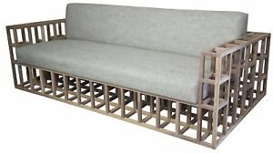 """84"""" L Contemporary Sofa Hand Crafted Solid Walnut Frame Unfinished Dolphin Grey"""