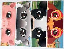 NEW! 24 ANIMAL MASK BOOKMARKS PARTY FAVORS REWARDS COWS CHICKENS SHEEP PIGS FARM