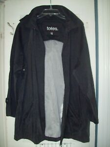 Women's TOTES Rain Coat Charcoal Grey Sz Med NWOTs Hooded Zippered jacket