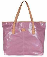 New Tod's Women's Toujours Shopping Media Pink Coated Canvas Purse Tote