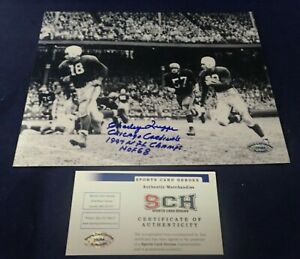 Charley Trippi Signed 8x10 Photo W/HOF 68+1947 NFL CHAMPS+Chicago Cards SCH Auth