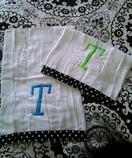 "Frazzled and Dazzled Diaper Liner Polka Dot Monogram ""T"" Teal (2) NEW Burp Rag"