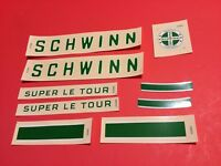 NOS Mint Schwinn Bicycle Green Super Le Tour Down Tube and Seat Tube Decal Set