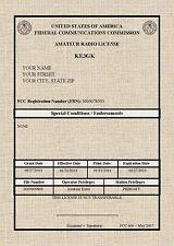 FCC Amateur Radio License Print * Ham Radio License * 5 X 7  Plus Wallet License