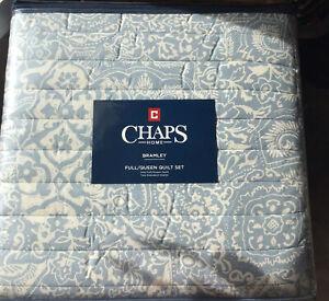 New Ralph Lauren Chaps Bramley King Quilt & Shams Set Dusty Blue & cream Cotton