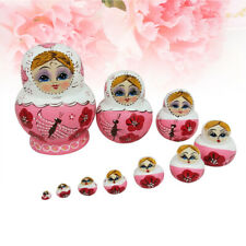 "10 Wood Russian Matryoshka Nesting Dolls Hand Paint Gift Room Desk Decor Pink 6"""