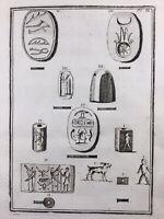 Égyptologie 1761 Scarabée Lotus Antiquités Egypte Archéologie Égyptienne Gravure