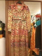 Vintage 1970s Sz 12 / Oscar De La Renta Langärmelig Abendkleid bunt/Gold transpa
