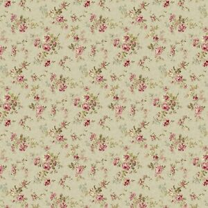 Dollhouse Miniature Shabby Chic Wallpaper Tan Floral Flowers 1:12