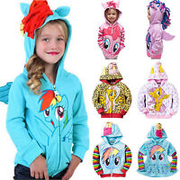 Kids Girls Unicorn Hooded Sweatshirt Jacket Zip Up Hoodie Jumper Coat Outerwear
