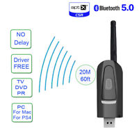 Bluetooth 5.0 Transmitter Wireless Audio Adapter USB 3.5mm AUX Aptx PS4 PC TV