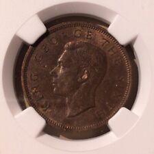 1950 NEW ZEALAND 1/2 Penny NGC MS 62 BN - Bronze - 5 In Higher Grades