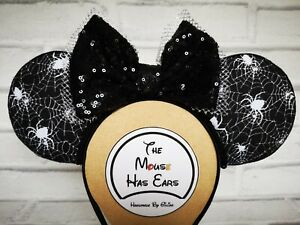 Custom Disney Mickey Mouse ears Halloween Spider and Spiders web Black Silver
