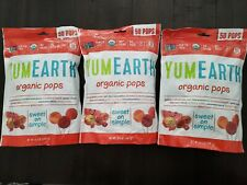 3 Pack YumEarth Organic Lollipops, Assorted Flavors, 50 Count Each pack, 12/2020