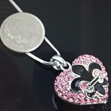 Fleur de lis Pink Rhineston Heart  Necklace