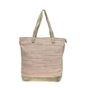 Suede Leather Tote Bag Large Weave Panel Slouchy Design Zip Closure
