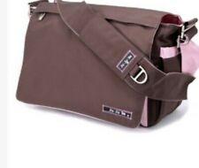 Ju Ju Be Brown and Bubblegum Messenger Diaper Bag w/Pockets! Euc. Retail $120
