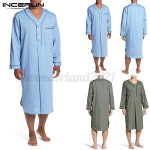 Mens Nightshirt Pajamas Long Sleeve Kaftan V-neck Sleepwear Night Gown Top Dress