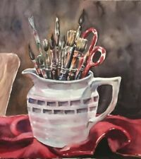 "12""X12"" Pamela Wilhelm Original Watercolor White Paintbrush Pitcher Red Burgundy"