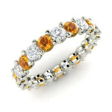 2.03 Ct Natural Diamond Citrine Eternity Band In 950 Platinum Ring Size N O P